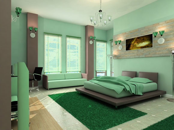green master bedroom decor