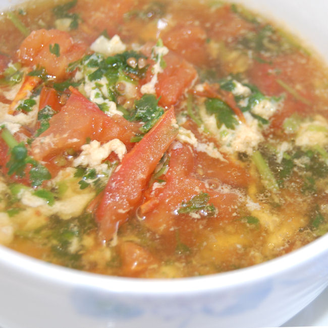 371. Tomato and egg flower soup - 蕃茄蛋花湯 - Recipe | Kits Chow