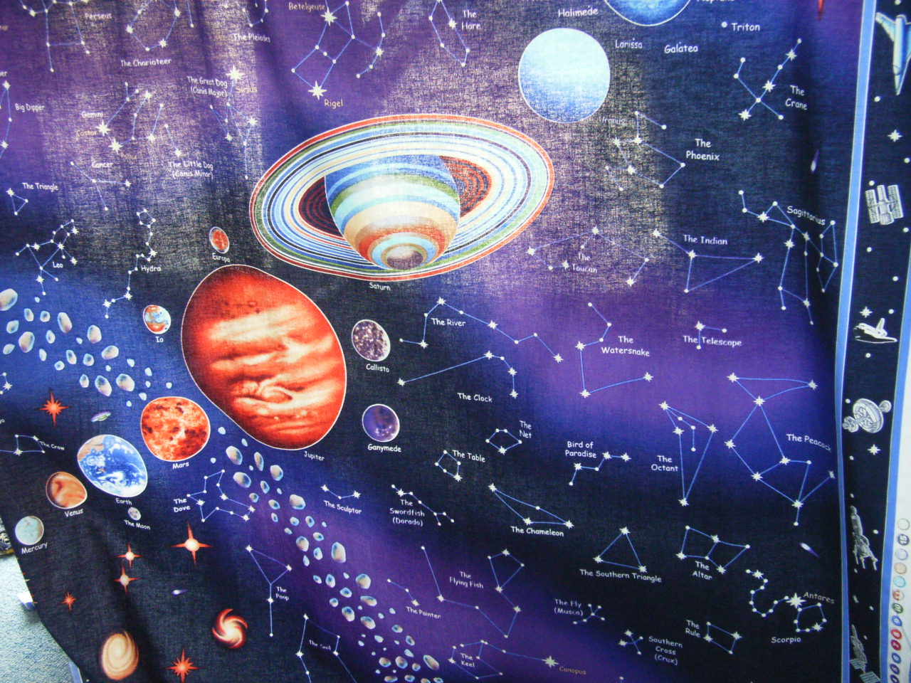 Village books and crafts dragonfly daze and other fabrics for Solar system fabric panel