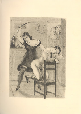 Woman in black dress whipping man tied to chair, two people watching in background