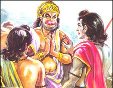 anjaneya swami with lord rama and lakshman
