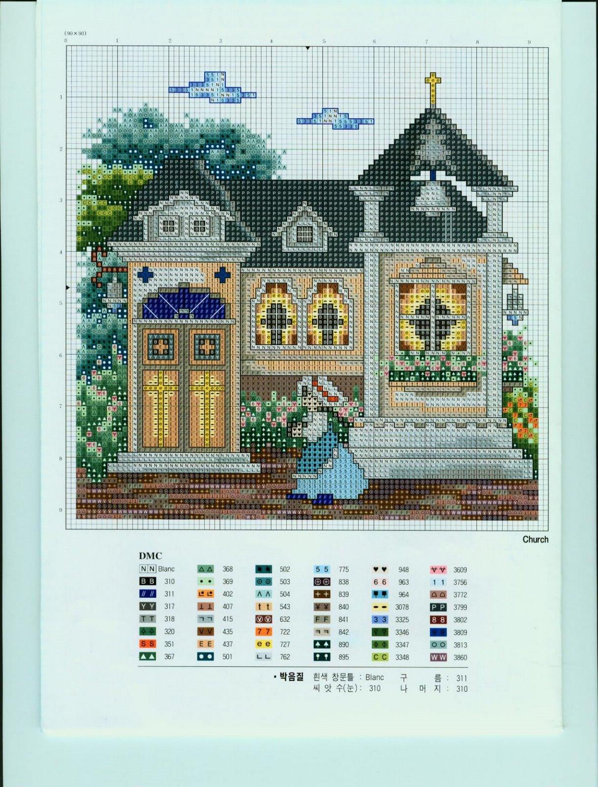 Английский домик схема вышивки 91