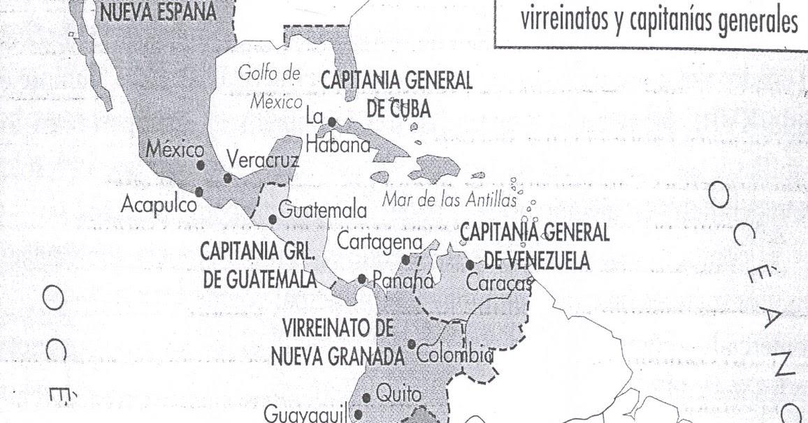 MAPOTECA VIRTUAL: MAPA DE LOS VIRREINATOS Y LAS CAPITANÍAS GENERALES ...