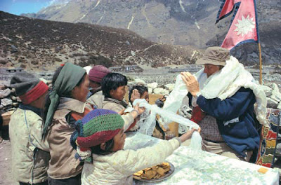 Sir Ed and the children of Nepal.