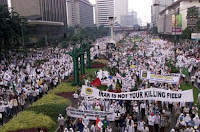 Anti-war protest in Jakarta, Indonesia.