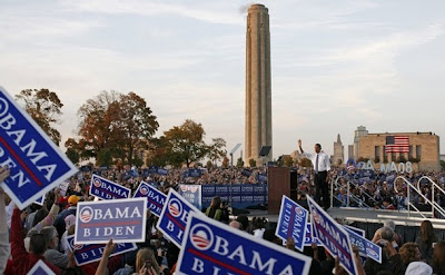 A crowd of 75,000 at the Obama rally in Kansas City, MO, October 18, 2008.