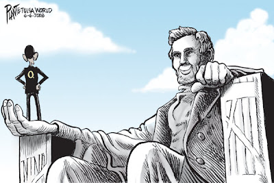 Obama stands in the open right hand of the giant Lincoln statue, his hands on his hips, facing Lincoln. Lincoln smiles back at him with a peaceful, satisfied expression on his face.