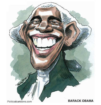 A widely grinning Obama is depicted as George Washington, first President of the United States.