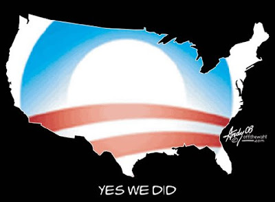 A hole cut out of the black background takes on the shape of America. Through it shines the red, white and blue of the Obama logo. The caption below reads 'Yes we did'.