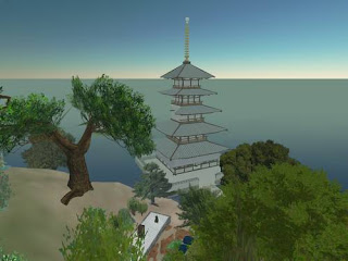 Second Life pagoda, river waterfall