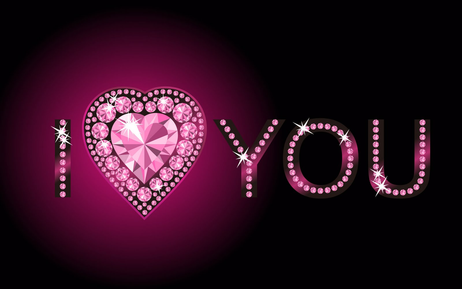 Love U Wallpaper With Quotes : I Love You With Diamond Decoration Quotes Wallpapers