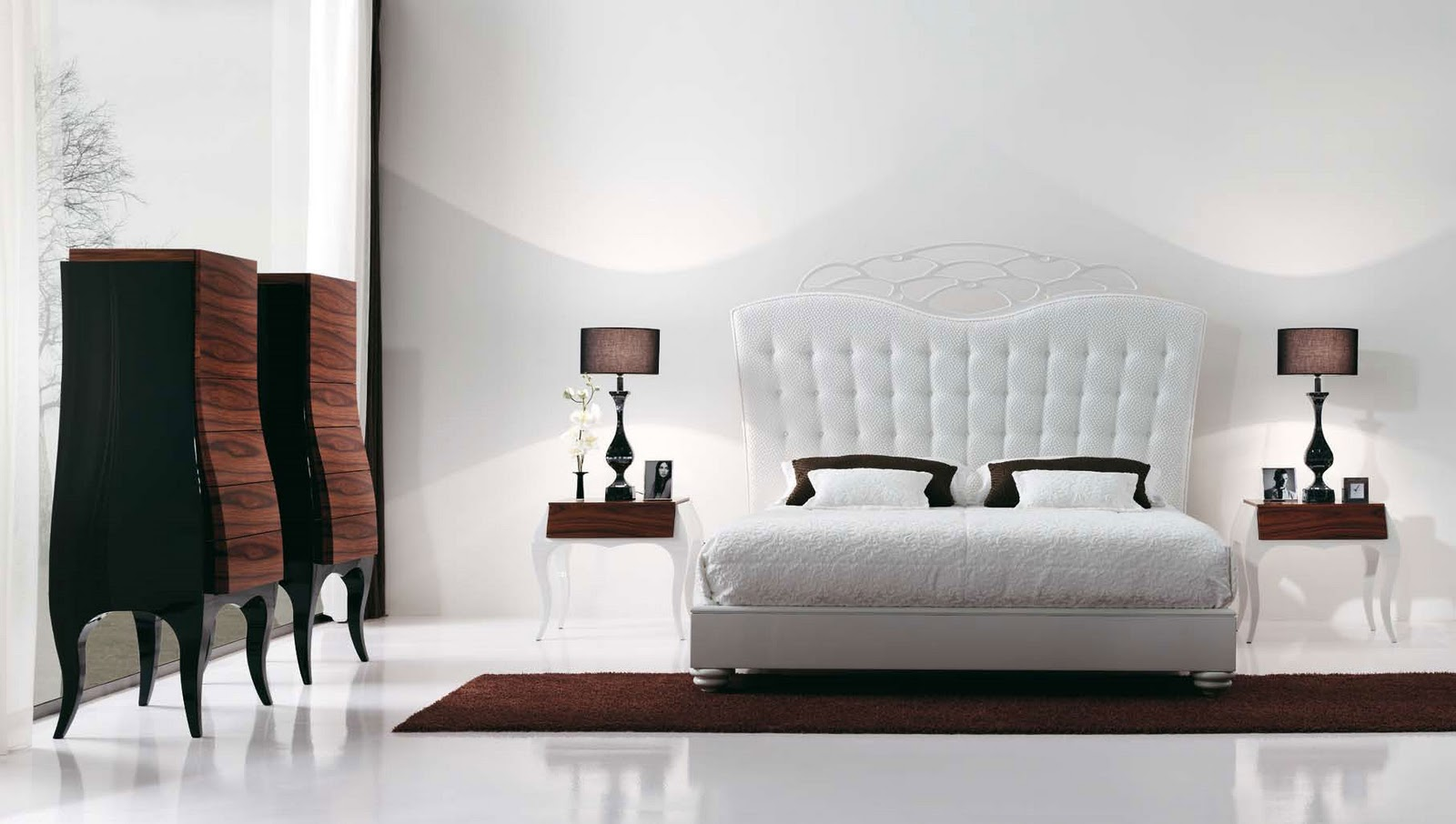 Modern-white-bedroom-with-white-bed,-brown-carpet-and-two-lamps