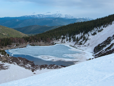 St. Mary's Glacier Snowshoe, Lake From Above