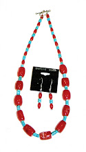 Coral chunks and smaller coral beads with turquoise accents