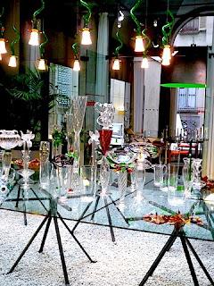ダ・ドリアデの扱うガラス商品の数々。
