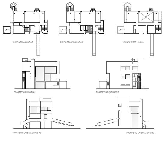 Smith House Piante : Richard meier smith house plan sketch coloring page
