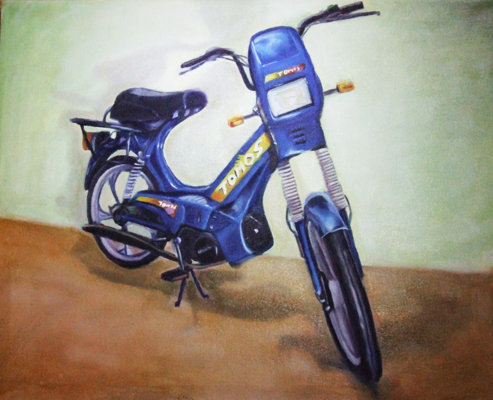oil painting of Tomos Targa moped