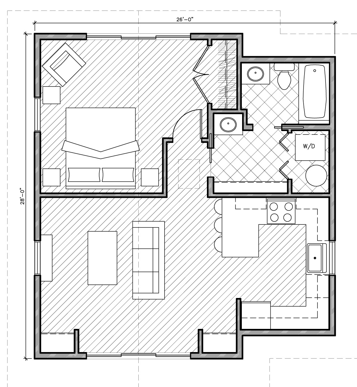 Simple One Bedroom Cottage @ Architectural Designs