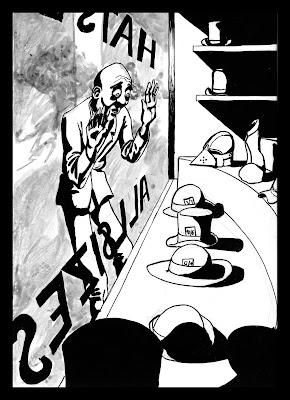 Ilustracion del Sombrerero de Alicia en el pais de las maravillas de Lewis Carroll, dibujo pin up del personaje