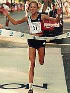 Cyndie (Brown) Welte Winning the 1988 Honolulu Marathon