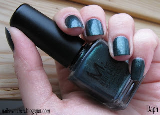 Misa Toxic seduction nail polish smokey green shimmer nail polish nailswatches