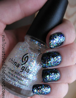bourjois blue mysterieux dark blue creme looks black on the nail nail polish nailswatches china glaze glitters snowglobe layered