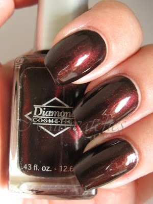 diamond cosmetics cherry tobacco brown shimmer nail polish swatch
