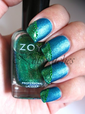 nailart zoya sparkles collection ivanka charla blue green glass flecked studs nailswatches nailpolish swatch