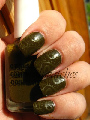 obsessive compulsive cosmetics occ nail polish swatch nailswatches swamp thing muddy green creme konad konadicure stamping imageplate m64 rescue beauty lounge rbl no more war nmw