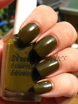 obsessive compulsive cosmetics occ nail polish swatch nailswatches swamp thing muddy green creme