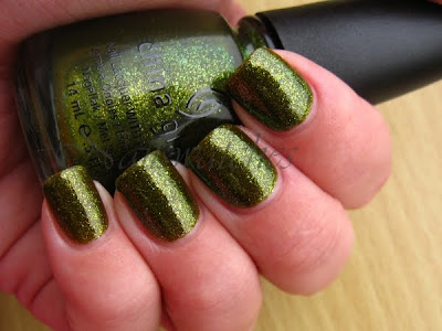 china glaze zombie zest green glass flecks shimmer awakening limited edition collection 2010 halloween nail polish nailswatches