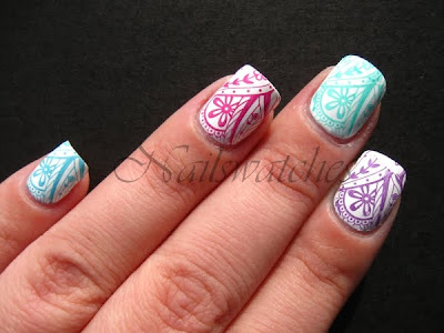stampabilities festival fever talent scout ditch the heels main stage headliner blue green teal pink purple creme nail polish stamping imageplate m60 konad nailswatches
