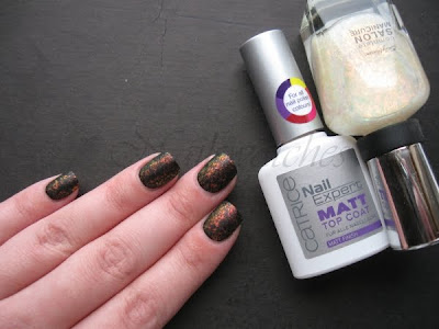 sally hansen hidden treasure over wet n wild black creme catrice matt top coat nail polish nailswatches