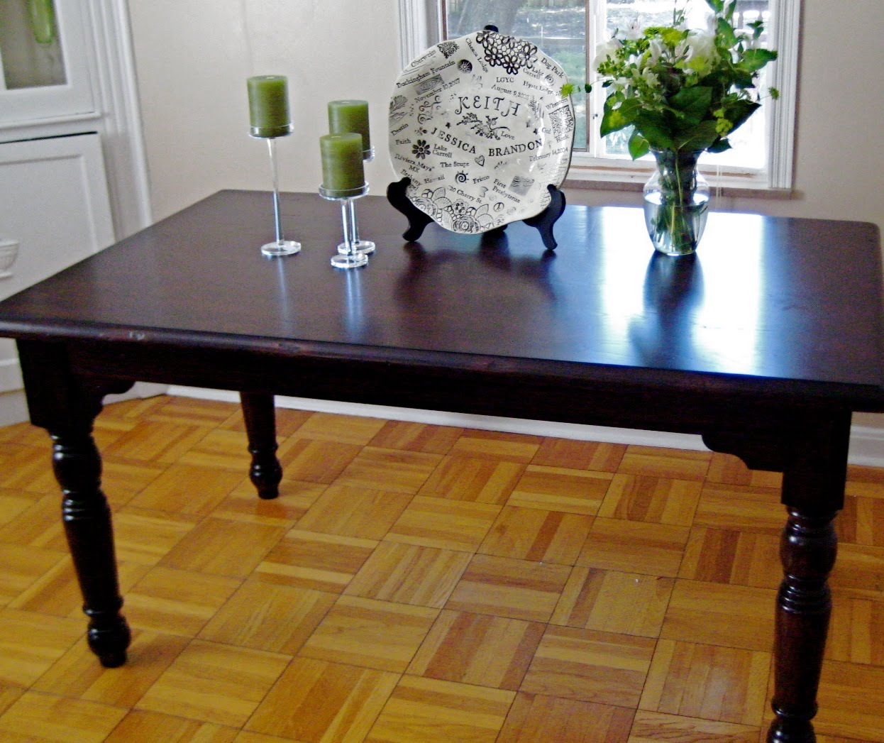 diy refinishing the dining room table