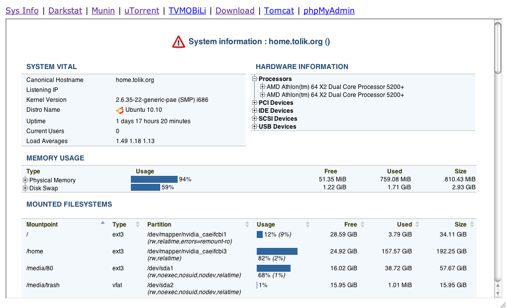 Darkstat - information about the current network state(load,traffic ...