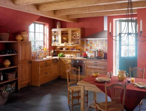 Дизайн кухни в деревенском стиле.