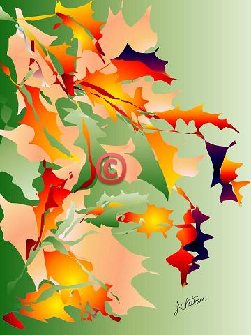 """Autumn Leaves in Green"" by J. Chatham"