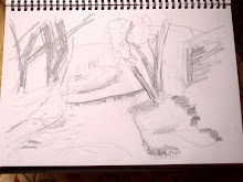 2 minute sketch of trees and stream - 'nothing'