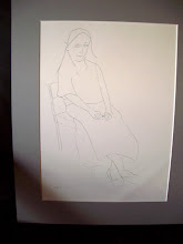 Contour drawing of young woman, mounted