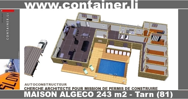 Plan maison 3 chambres 80m2 for Plan amenagement container habitable