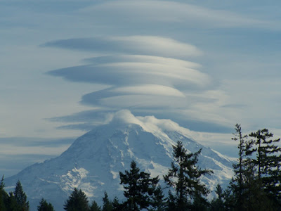 Those are called lenticular clouds They 39re caused when the air flow is