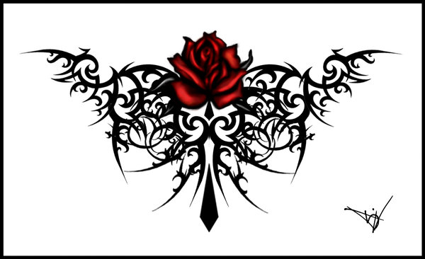 rose tattoos designs. tribal rose tattoo designs.