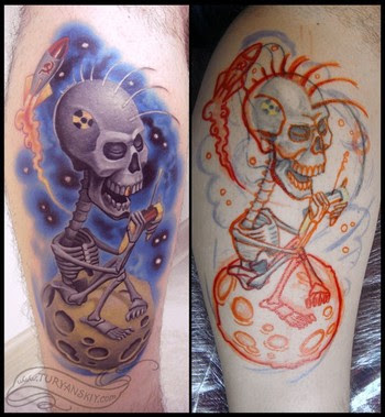 punk sytle tattoo. punk style of tattoo body, cool skull tattoo punk