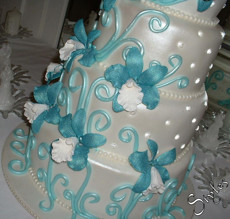 Wedding Cake Turquoise Orchids