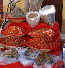 Dried fish at the market- shrimps, anchovies and salted filets