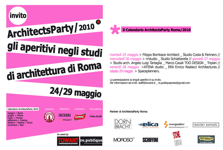 Thenewarchintown 24 29 maggio architects party roma for Studi di architettura roma