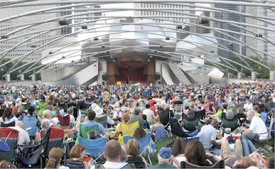 Frank Gehry Pritzker Bandshell concert with people under trellis Chicago Millennium Park