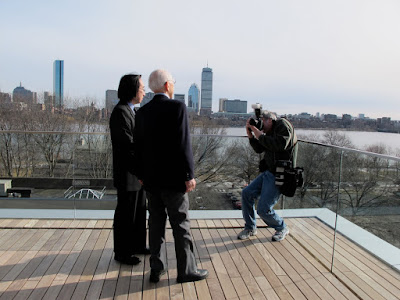 Fumihiko Maki having his portrait taken on the terrace at MIT Media Lab Cambridge Massachusetts