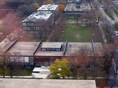 Mies Crown Hall aerial view bird's eye Chicago seen from above