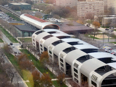 IIT aerial view Rem Koolhaas Office of Metropolitan Architecture OMA McCormick Student Center and Helmut Jahn dorm